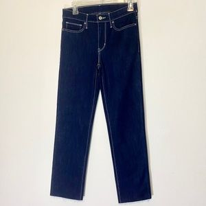 Levi's Straight Leg Jeans Raw Hem Fringe Stretch